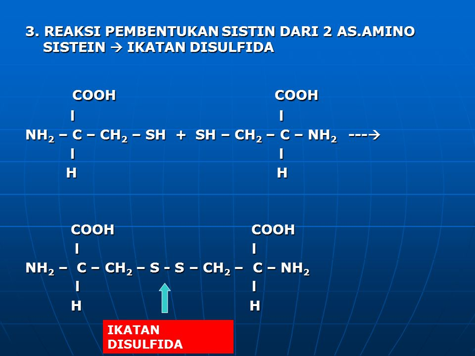 3. REAKSI PEMBENTUKAN SISTIN DARI 2 AS.AMINO SISTEIN  IKATAN DISULFIDA COOH COOH COOH COOH l l l l NH 2 – C – CH 2 – SH + SH – CH 2 – C – NH 2 --- 