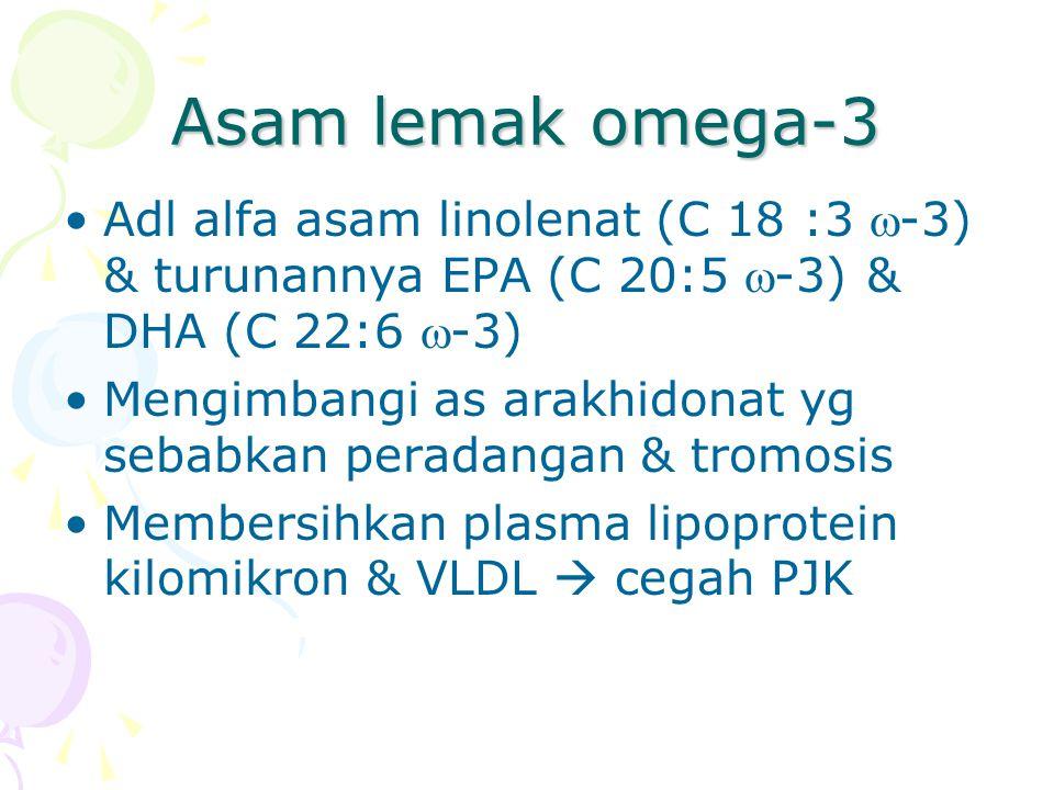Asam lemak omega-3 Adl alfa asam linolenat (C 18 :3 -3) & turunannya EPA (C 20:5 -3) & DHA (C 22:6 -3) Mengimbangi as arakhidonat yg sebabkan peradangan & tromosis Membersihkan plasma lipoprotein kilomikron & VLDL  cegah PJK