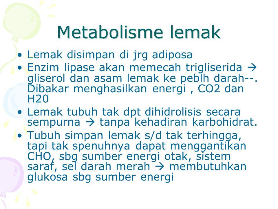 Metabolisme lemak Lemak disimpan di jrg adiposa Enzim lipase akan memecah trigliserida  gliserol dan asam lemak ke peblh darah--. Dibakar menghasilka