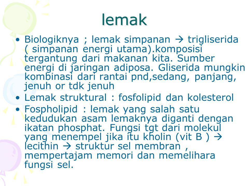 Asam lemak esensial Esensial sebab dibutuhkan tubuh tapi tdk dpt dibuat tubuh As linoleat (18:2 -6) & as linolenat (18:3 -3) Akibat kekurangan gejala kulit dermatitis & eksim, gangguan pertumbuhan ALE dibutuhkan utk sintesa lipida struktur sel, mis 50% berat otak kering adl lipida 50% lg as lemak tdk jenuh ganda (as arakhidonat & DHA) As linoleat terdpt pd minyak nabati: minyak jag, biji bunga matahari, kedele