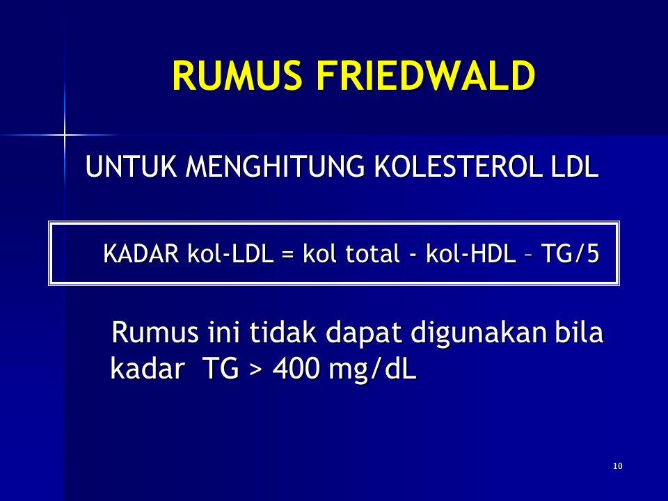 RUMUS FRIEDWALD UNTUK MENGHITUNG KOLESTEROL LDL KADAR kol-LDL = kol total - kol-HDL – TG/5 KADAR kol-LDL = kol total - kol-HDL – TG/5 Rumus ini tidak