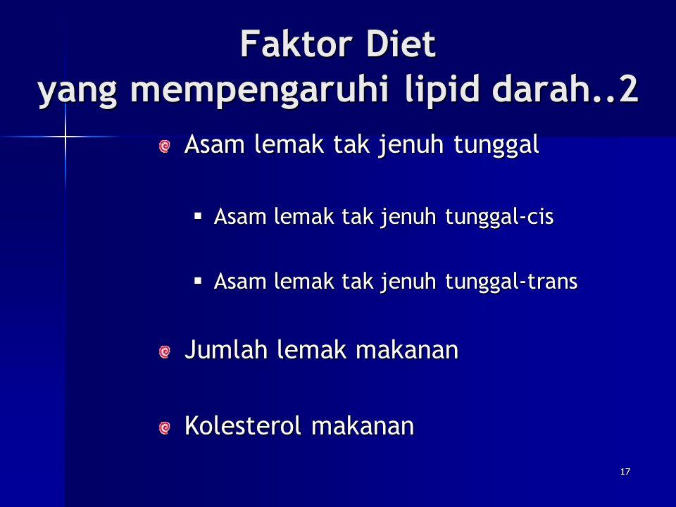 Faktor Diet yang mempengaruhi lipid darah..2 Asam lemak tak jenuh tunggal  Asam  Asam lemak tak jenuh tunggal-cis lemak tak jenuh tunggal-trans Juml