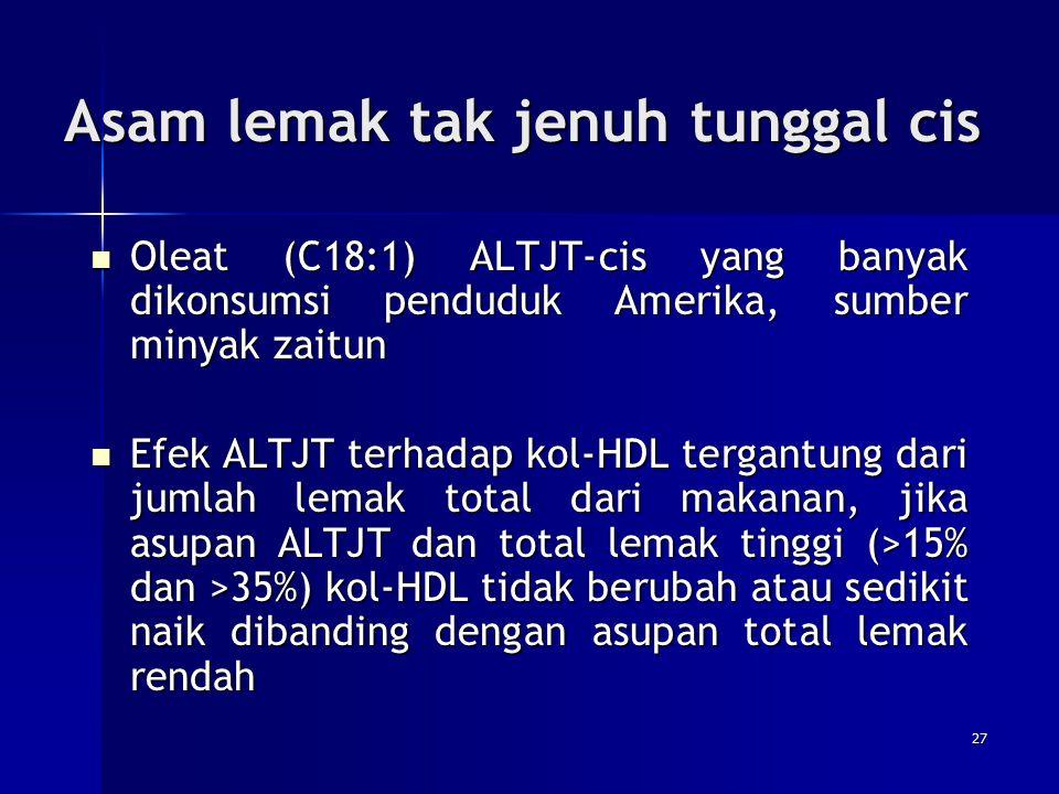 Asam lemak tak jenuh tunggal cis Oleat (C18:1) ALTJT-cis yang banyak dikonsumsi penduduk Amerika, sumber minyak zaitun Oleat (C18:1) ALTJT-cis yang ba