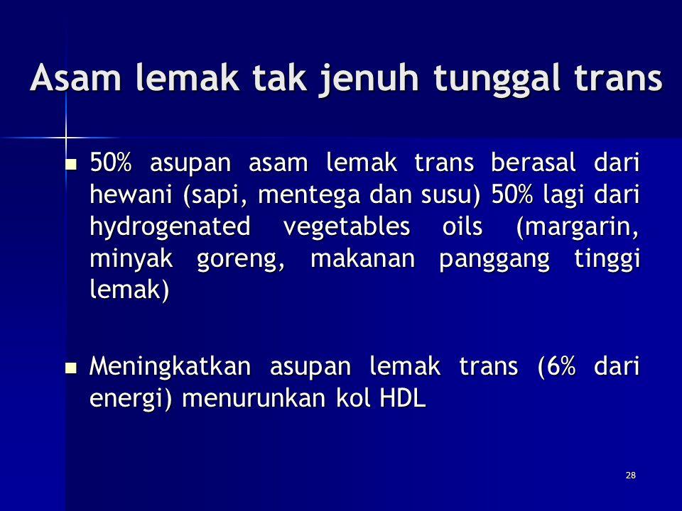 Asam lemak tak jenuh tunggal trans 50% asupan asam lemak trans berasal dari hewani (sapi, mentega dan susu) 50% lagi dari hydrogenated vegetables oils