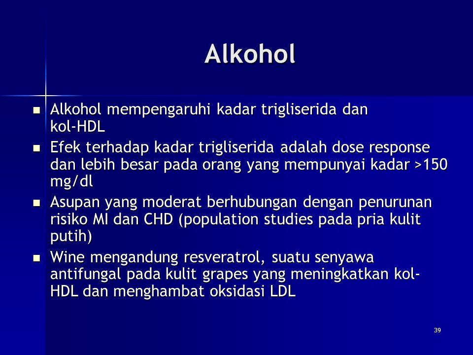 Alkohol Alkohol mempengaruhi kadar trigliserida dan kol-HDL Alkohol mempengaruhi kadar trigliserida dan kol-HDL Efek terhadap kadar trigliserida adala