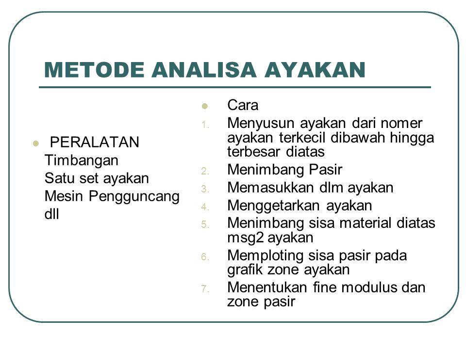 Zone Agregat Halus Untuk agregat Halus Jenis gradasi Pasir yang dapat diijinkan sebagai bahan campuran beton dibedakan menjadi 4 zoning Diameter ayakan % lolos
