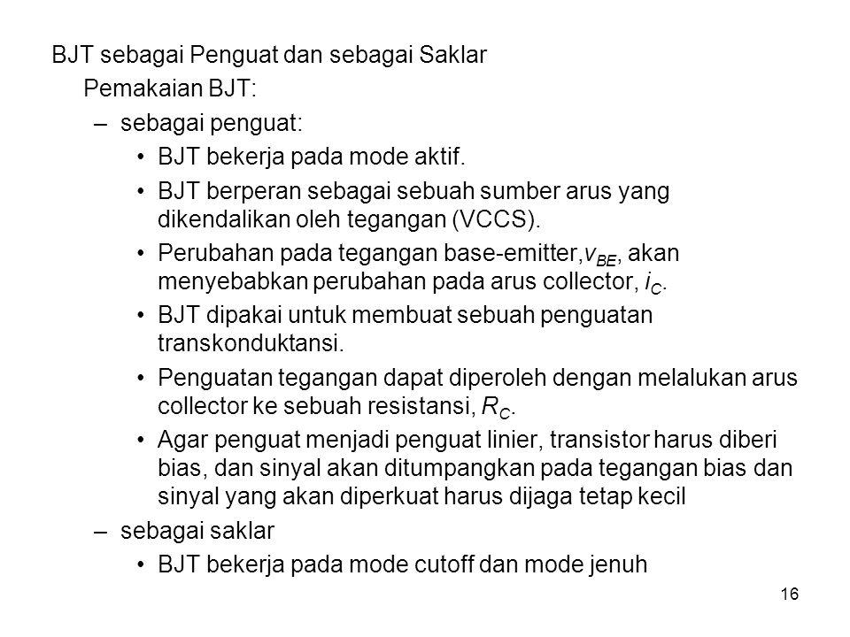 16 BJT sebagai Penguat dan sebagai Saklar Pemakaian BJT: –sebagai penguat: BJT bekerja pada mode aktif. BJT berperan sebagai sebuah sumber arus yang d