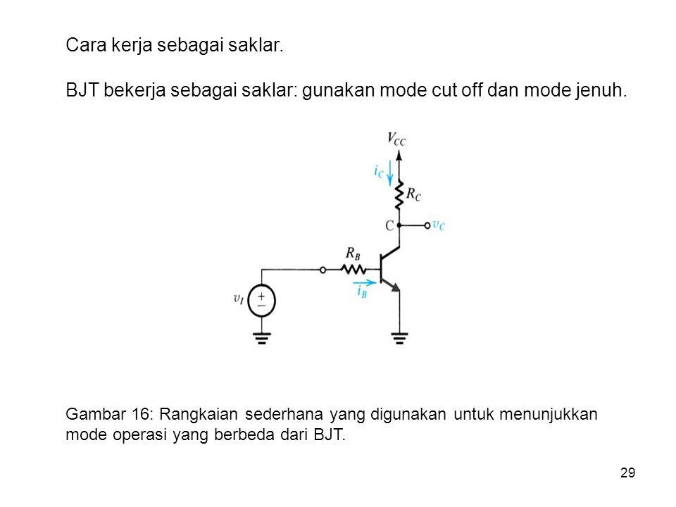 29 Cara kerja sebagai saklar. BJT bekerja sebagai saklar: gunakan mode cut off dan mode jenuh. Gambar 16: Rangkaian sederhana yang digunakan untuk men