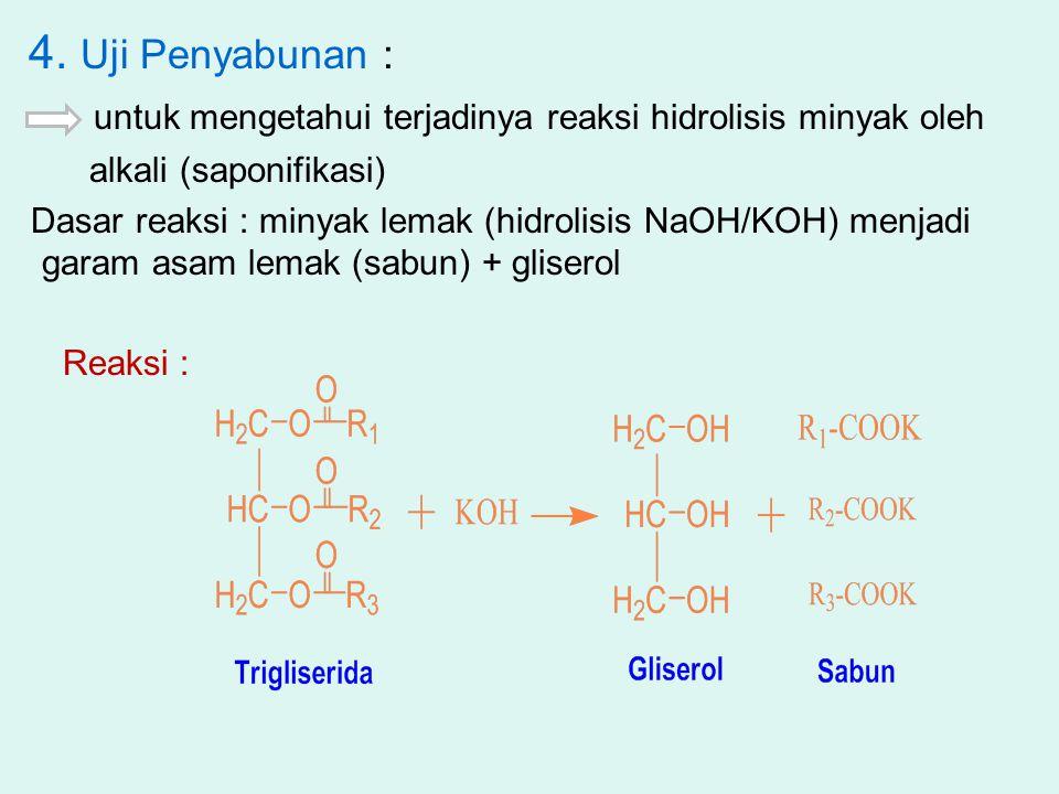 4. Uji Penyabunan : untuk mengetahui terjadinya reaksi hidrolisis minyak oleh alkali (saponifikasi) Dasar reaksi : minyak lemak (hidrolisis NaOH/KOH)