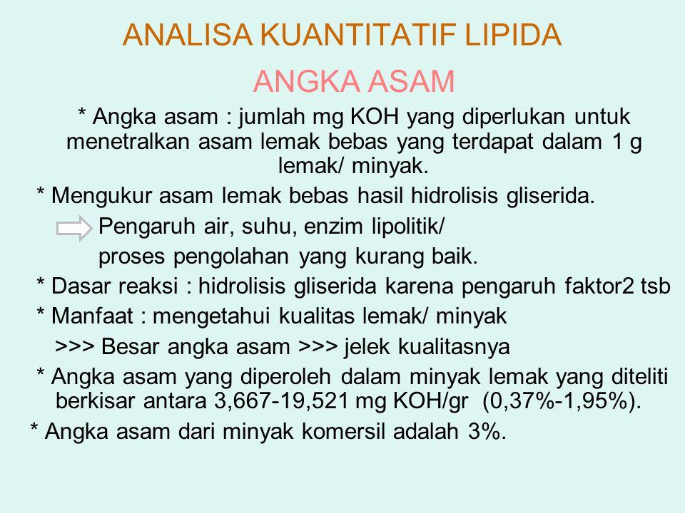 ANGKA ASAM * Angka asam : jumlah mg KOH yang diperlukan untuk menetralkan asam lemak bebas yang terdapat dalam 1 g lemak/ minyak. * Mengukur asam lema