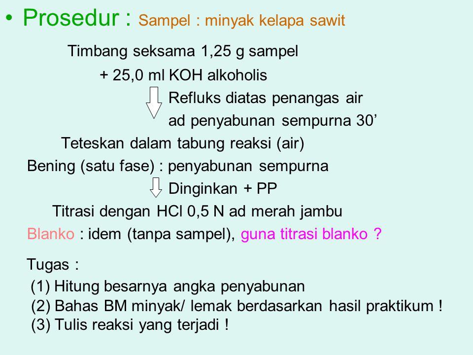 Prosedur : Sampel : minyak kelapa sawit Timbang seksama 1,25 g sampel + 25,0 ml KOH alkoholis Refluks diatas penangas air ad penyabunan sempurna 30' T