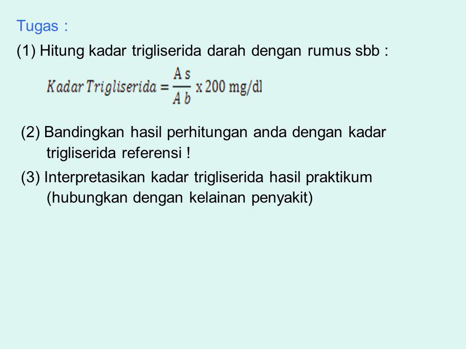 Tugas : (1) Hitung kadar trigliserida darah dengan rumus sbb : (2) Bandingkan hasil perhitungan anda dengan kadar trigliserida referensi ! (3) Interpr