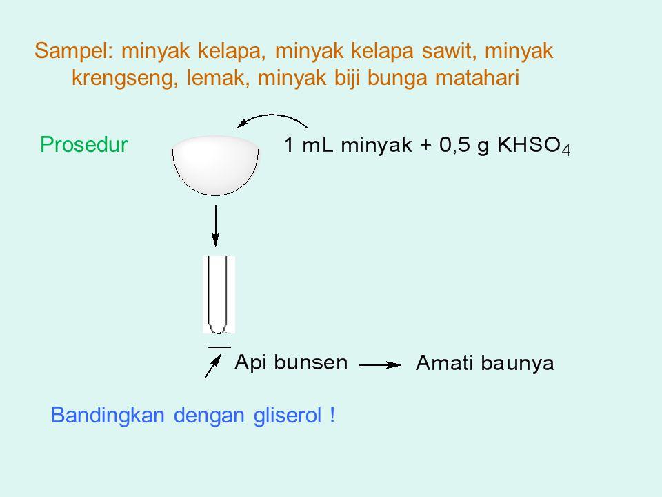 ANGKA IOD Angka Iod : banyaknya gram Iod yg diabsorbsi oleh 100 g lipid Untuk mengetahui derajat ketidakjenuhan asam lemak Semakin banyak ikatan rangkap, semakin besar bilangan Iodium Dasar reaksi : reaksi adisi, Iod mengadisi ikatan rangkap dari asam lemak Reaksi :
