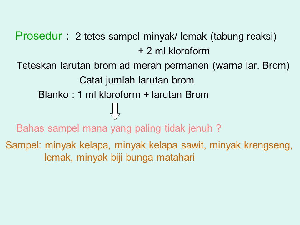 Prosedur : 2 tetes sampel minyak/ lemak (tabung reaksi) + 2 ml kloroform Teteskan larutan brom ad merah permanen (warna lar. Brom) Catat jumlah laruta