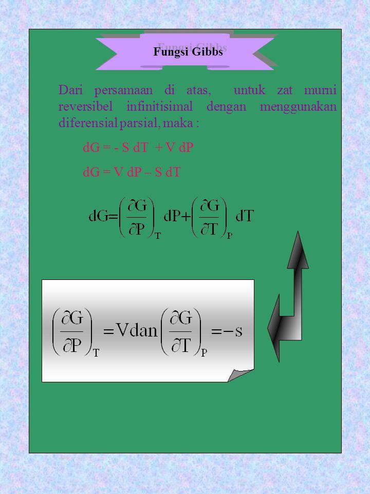 Dari persamaan di atas, untuk zat murni reversibel infinitisimal dengan menggunakan diferensial parsial, maka : dG = - S dT + V dP dG = V dP – S dT Fu