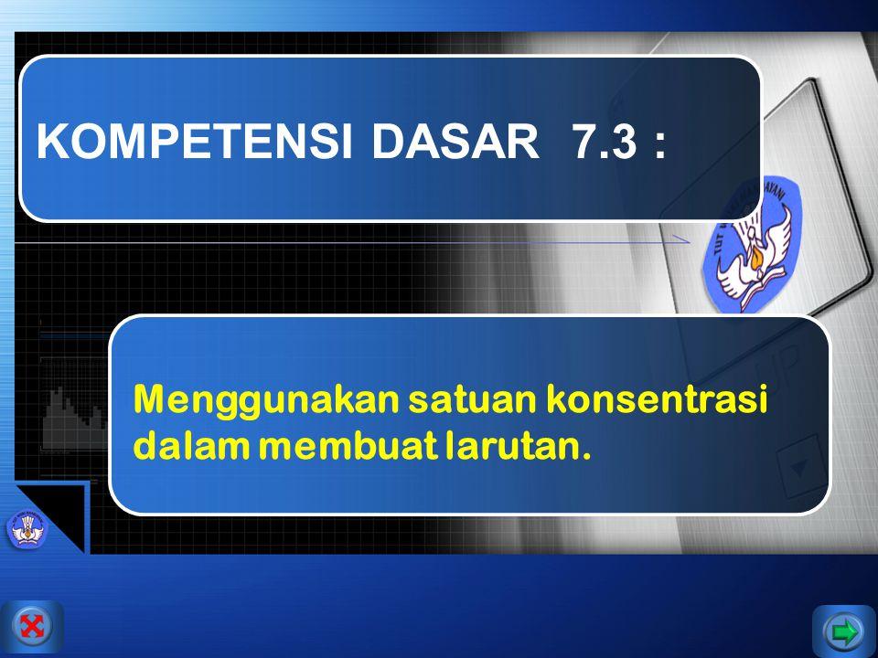KOMPETENSI DASAR 7.3 : Menggunakan satuan konsentrasi dalam membuat larutan.