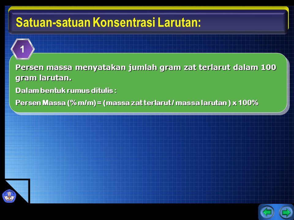 Persen volum menyatakan jumlah liter zat terlarut dalam 100 liter larutan.