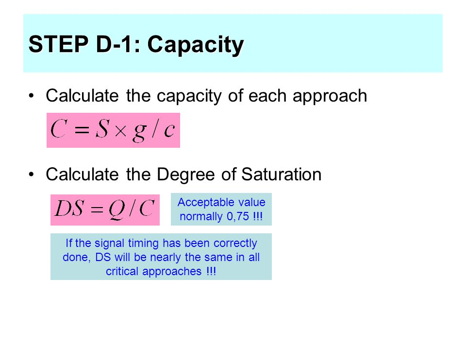 STEP D-1: Capacity Calculate the capacity of each approach Calculate the Degree of Saturation Acceptable value normally 0,75 !!! If the signal timing