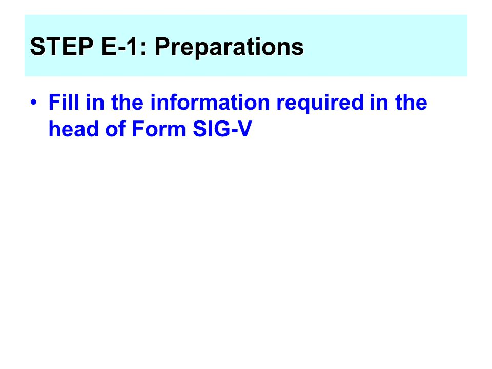 STEP E-1: Preparations Fill in the information required in the head of Form SIG-V