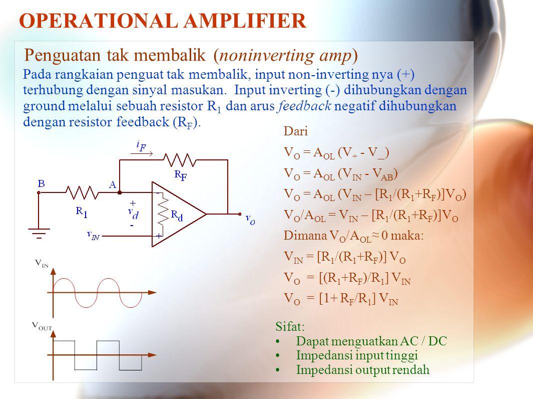 OPERATIONAL AMPLIFIER Penguatan tak membalik (noninverting amp) Pada rangkaian penguat tak membalik, input non-inverting nya (+) terhubung dengan siny