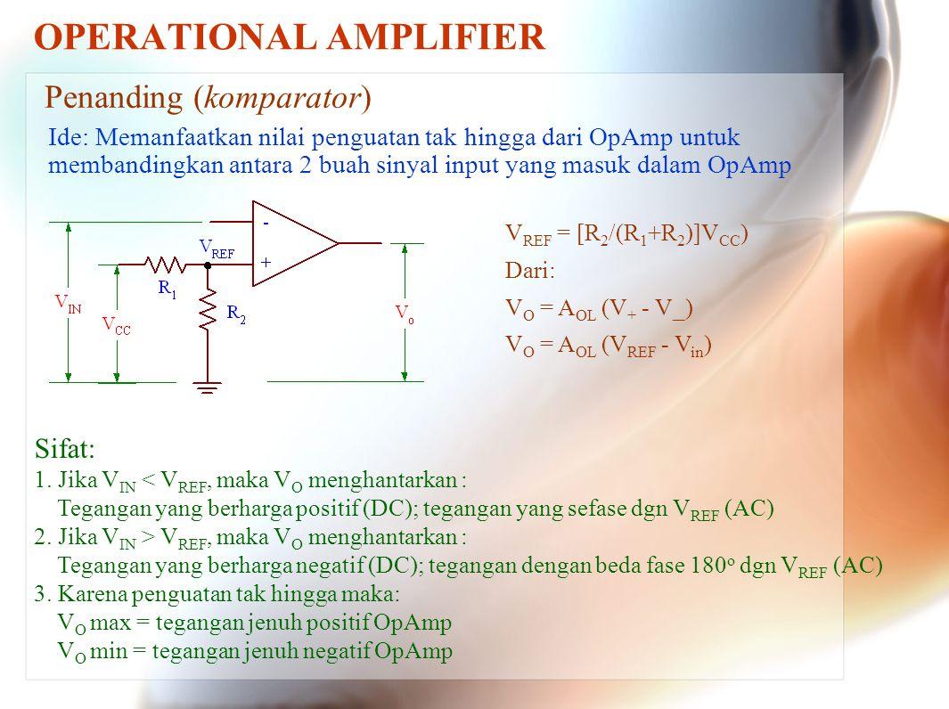 OPERATIONAL AMPLIFIER Penanding (komparator) Ide: Memanfaatkan nilai penguatan tak hingga dari OpAmp untuk membandingkan antara 2 buah sinyal input ya