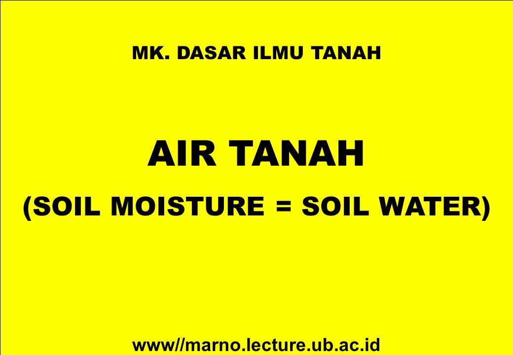 MK. DASAR ILMU TANAH AIR TANAH (SOIL MOISTURE = SOIL WATER) www//marno.lecture.ub.ac.id