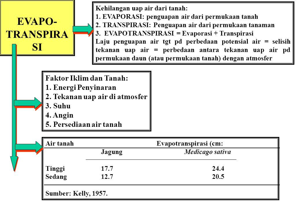 EVAPO- TRANSPIRA SI Kehilangan uap air dari tanah: 1.