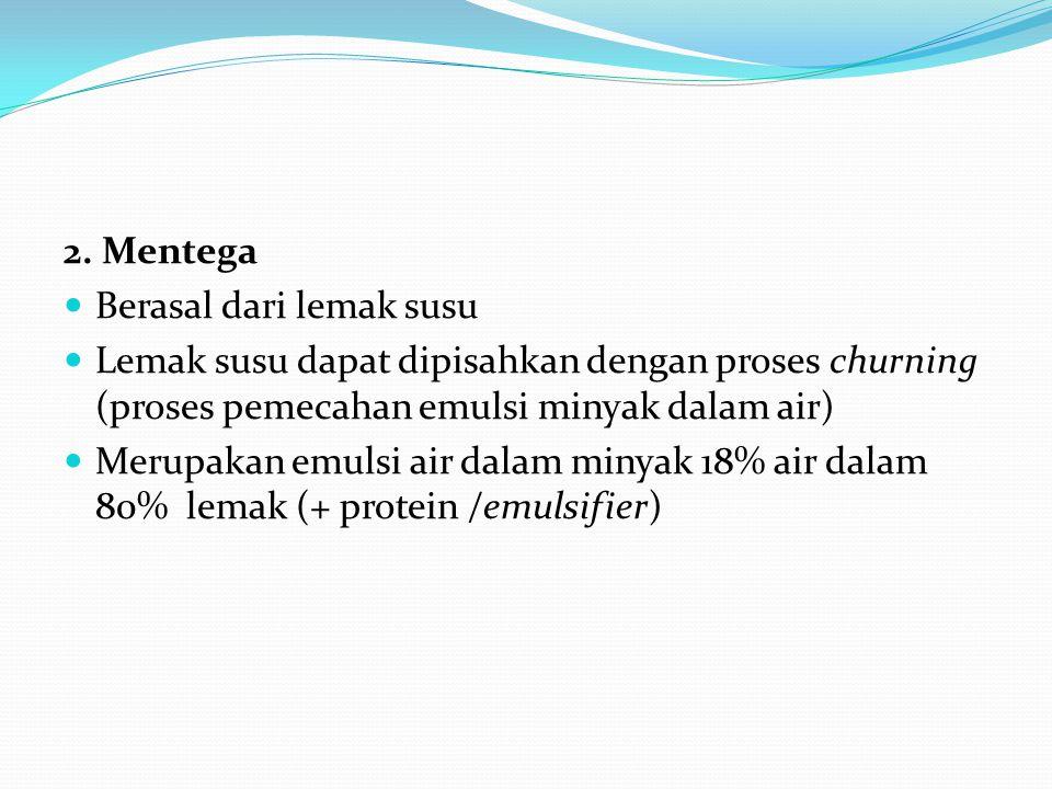 2. Mentega Berasal dari lemak susu Lemak susu dapat dipisahkan dengan proses churning (proses pemecahan emulsi minyak dalam air) Merupakan emulsi air
