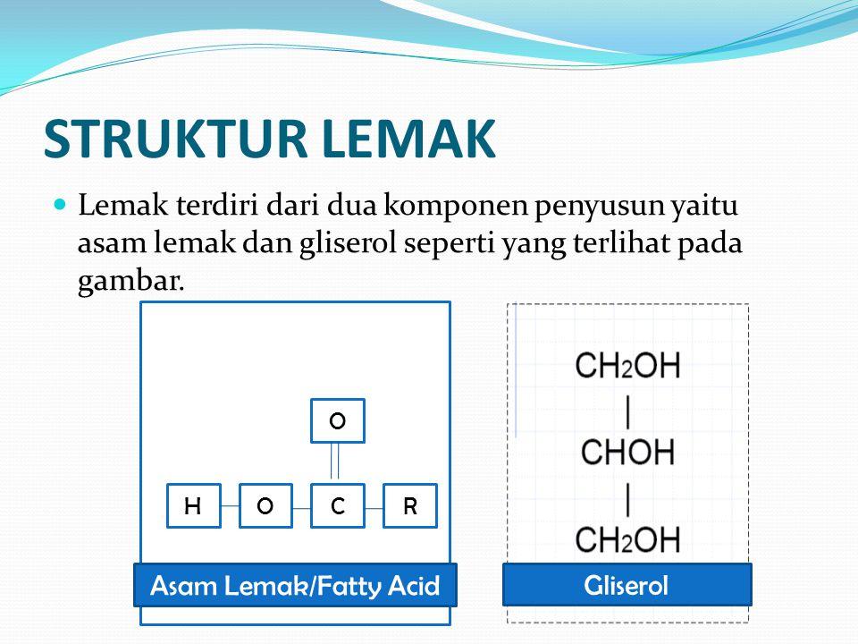 STRUKTUR LEMAK Lemak terdiri dari dua komponen penyusun yaitu asam lemak dan gliserol seperti yang terlihat pada gambar. Gliserol HOCR O Asam Lemak/Fa