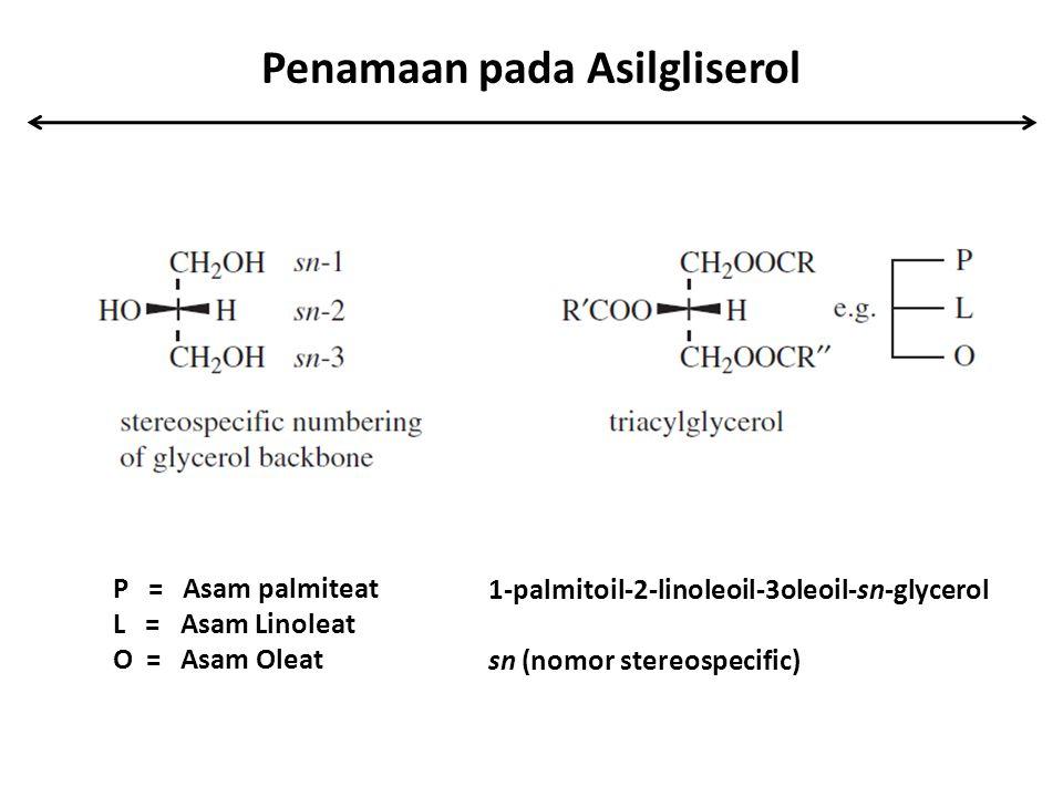 Penamaan pada Asilgliserol P = Asam palmiteat L = Asam Linoleat O = Asam Oleat 1-palmitoil-2-linoleoil-3oleoil-sn-glycerol sn (nomor stereospecific)