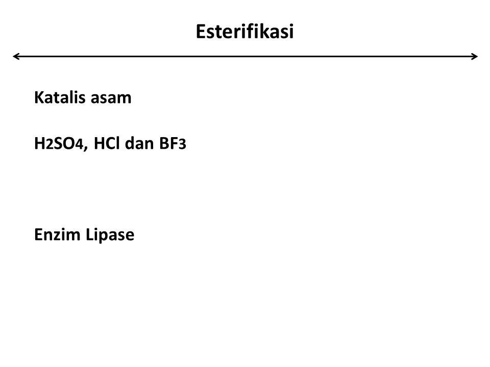 Esterifikasi Katalis asam H 2 SO 4, HCl dan BF 3 Enzim Lipase