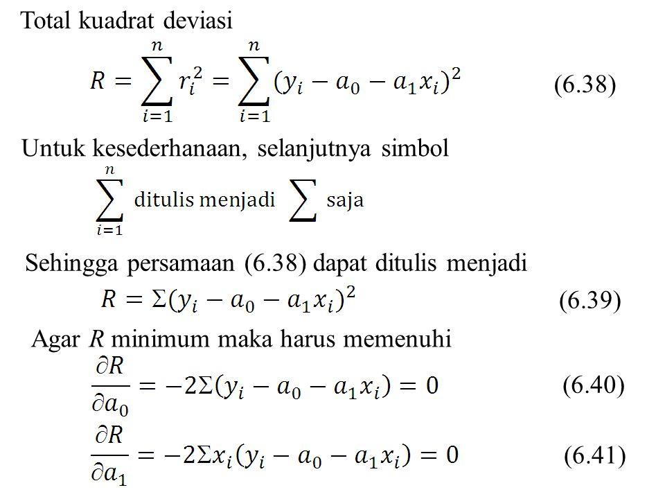Total kuadrat deviasi Untuk kesederhanaan, selanjutnya simbol Sehingga persamaan (6.38) dapat ditulis menjadi Agar R minimum maka harus memenuhi (6.40