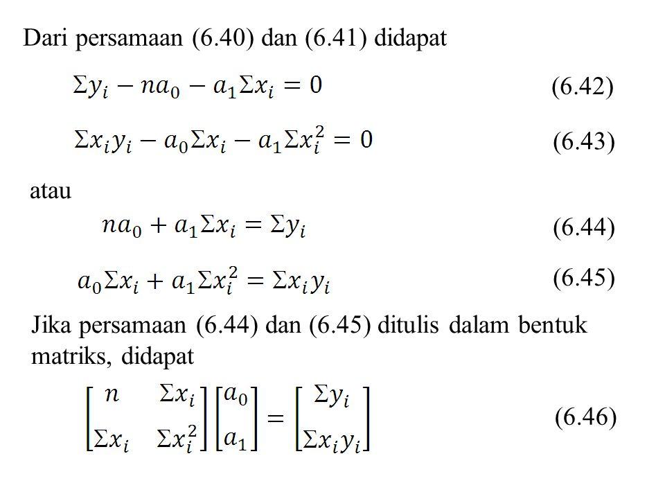 Dari persamaan (6.40) dan (6.41) didapat atau (6.42) (6.43) (6.44) (6.45) Jika persamaan (6.44) dan (6.45) ditulis dalam bentuk matriks, didapat (6.46