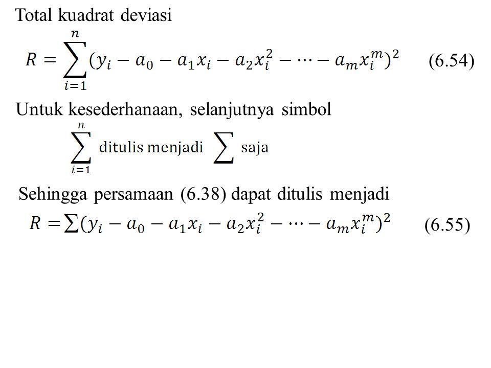 Total kuadrat deviasi Untuk kesederhanaan, selanjutnya simbol Sehingga persamaan (6.38) dapat ditulis menjadi (6.54) (6.55)