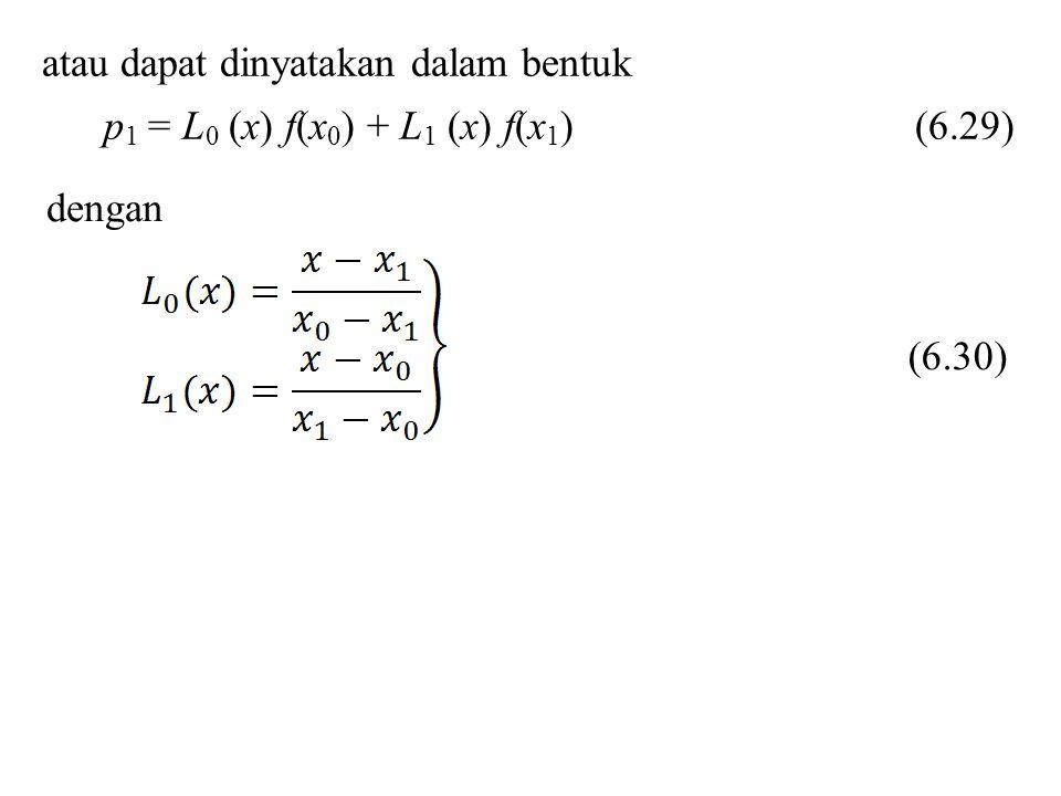 atau dapat dinyatakan dalam bentuk p 1 = L 0 (x) f(x 0 ) + L 1 (x) f(x 1 ) (6.29) dengan (6.30)