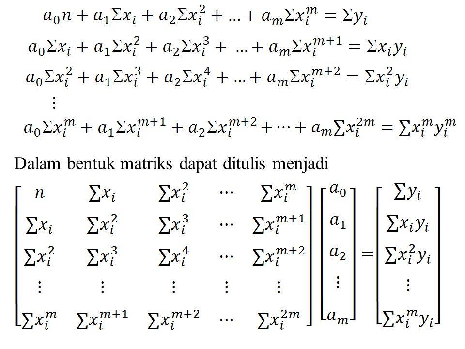 Dalam bentuk matriks dapat ditulis menjadi ⋮