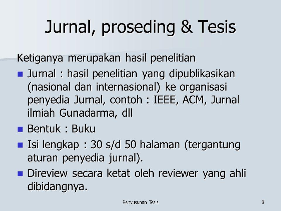 Jurnal, proseding & Tesis Ketiganya merupakan hasil penelitian Jurnal : hasil penelitian yang dipublikasikan (nasional dan internasional) ke organisas