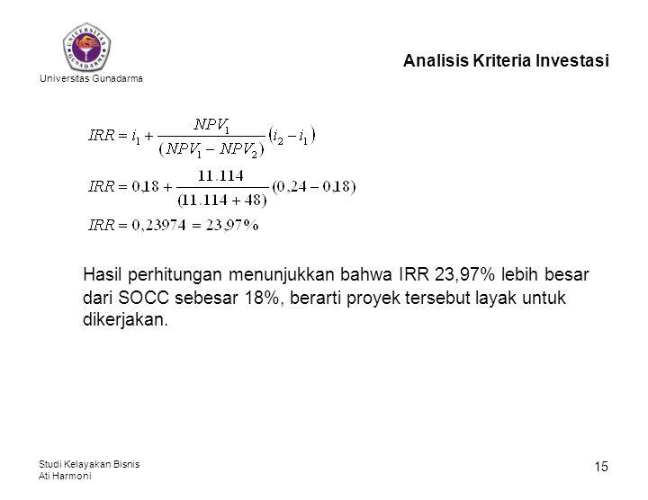 Universitas Gunadarma Studi Kelayakan Bisnis Ati Harmoni 15 Analisis Kriteria Investasi Hasil perhitungan menunjukkan bahwa IRR 23,97% lebih besar dar