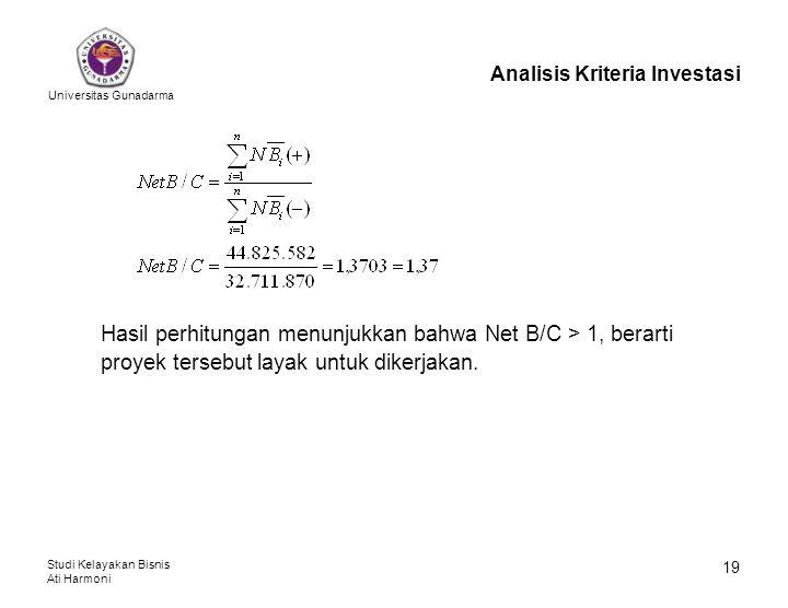 Universitas Gunadarma Studi Kelayakan Bisnis Ati Harmoni 19 Analisis Kriteria Investasi Hasil perhitungan menunjukkan bahwa Net B/C > 1, berarti proye