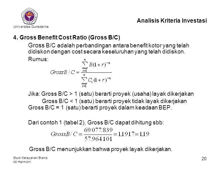 Universitas Gunadarma Studi Kelayakan Bisnis Ati Harmoni 20 Analisis Kriteria Investasi 4. Gross Benefit Cost Ratio (Gross B/C) Gross B/C adalah perba