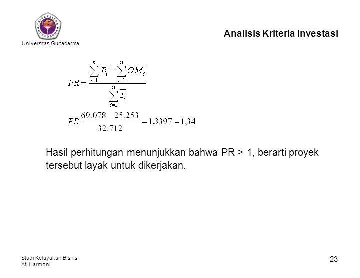 Universitas Gunadarma Studi Kelayakan Bisnis Ati Harmoni 23 Analisis Kriteria Investasi Hasil perhitungan menunjukkan bahwa PR > 1, berarti proyek ter