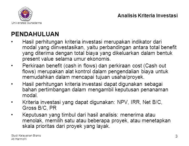 Universitas Gunadarma Studi Kelayakan Bisnis Ati Harmoni 14 Analisis Kriteria Investasi Dari Contoh 1 dibuat Tabel 3 berikut: Tabel 3: Persiapan Perhitungan IRR (dalam Rp.000,-) ThnNet BenefitD.F.