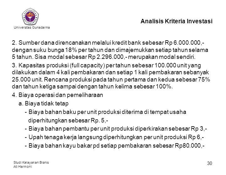 Universitas Gunadarma Studi Kelayakan Bisnis Ati Harmoni 30 Analisis Kriteria Investasi 2. Sumber dana direncanakan melalui kredit bank sebesar Rp 6.0