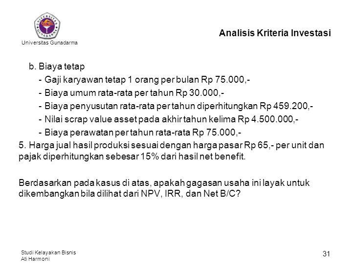 Universitas Gunadarma Studi Kelayakan Bisnis Ati Harmoni 31 Analisis Kriteria Investasi b. Biaya tetap - Gaji karyawan tetap 1 orang per bulan Rp 75.0