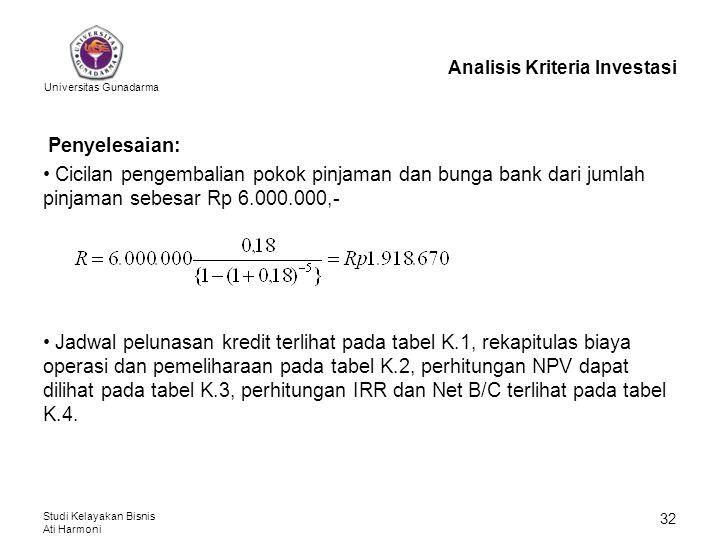 Universitas Gunadarma Studi Kelayakan Bisnis Ati Harmoni 32 Analisis Kriteria Investasi Penyelesaian: Cicilan pengembalian pokok pinjaman dan bunga ba