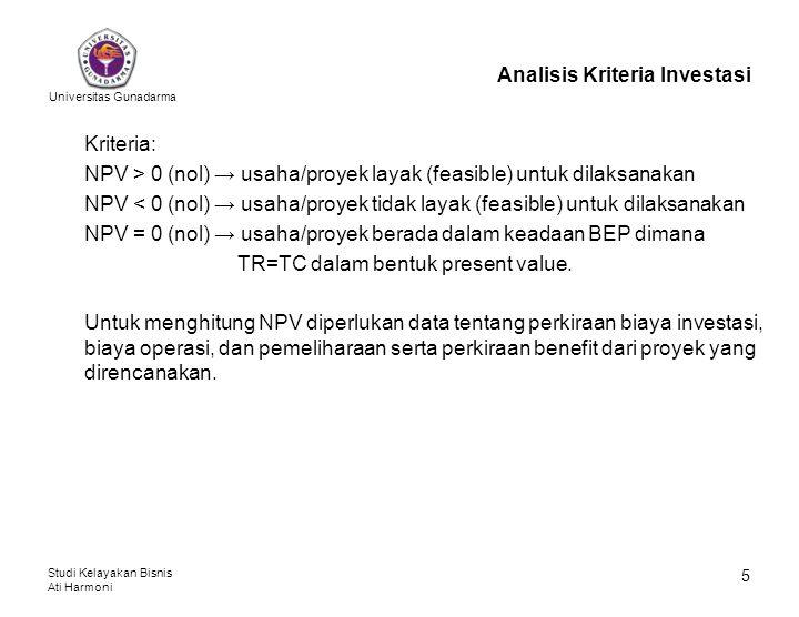 Universitas Gunadarma Studi Kelayakan Bisnis Ati Harmoni 5 Analisis Kriteria Investasi Kriteria: NPV > 0 (nol) → usaha/proyek layak (feasible) untuk d
