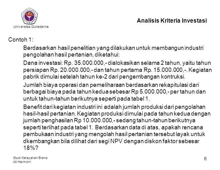 Universitas Gunadarma Studi Kelayakan Bisnis Ati Harmoni 7 Analisis Kriteria Investasi Tabel 1: Persiapan Perhitungan NPV (dalam Rp.000,-) ThnInvestasiBiaya Operasi Total CostBenefitNet Benefit D.F.