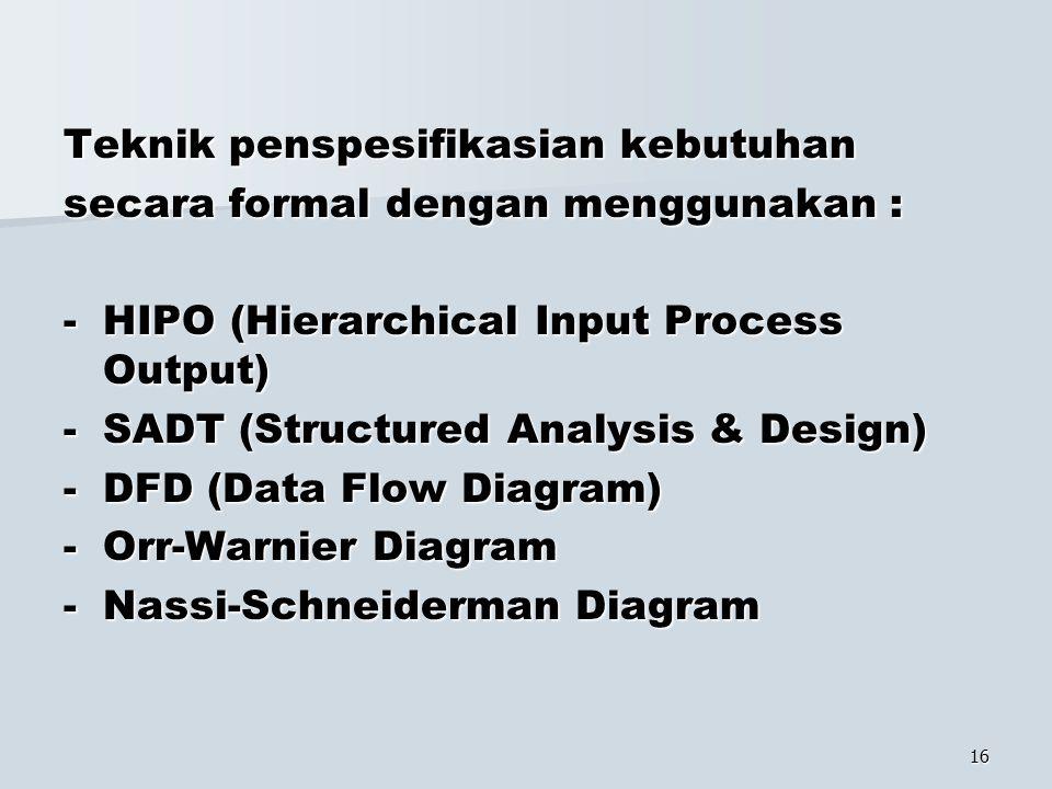 16 Teknik penspesifikasian kebutuhan secara formal dengan menggunakan : -HIPO (Hierarchical Input Process Output) -SADT (Structured Analysis & Design)