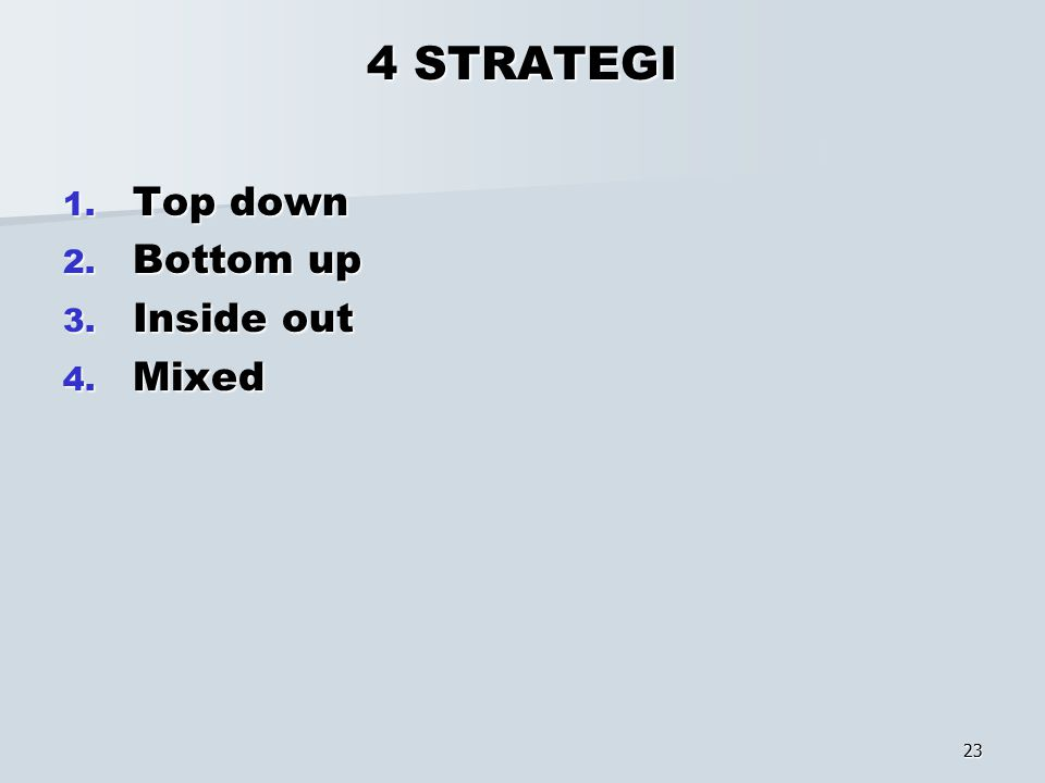 23 4 STRATEGI 1. Top down 2. Bottom up 3. Inside out 4. Mixed