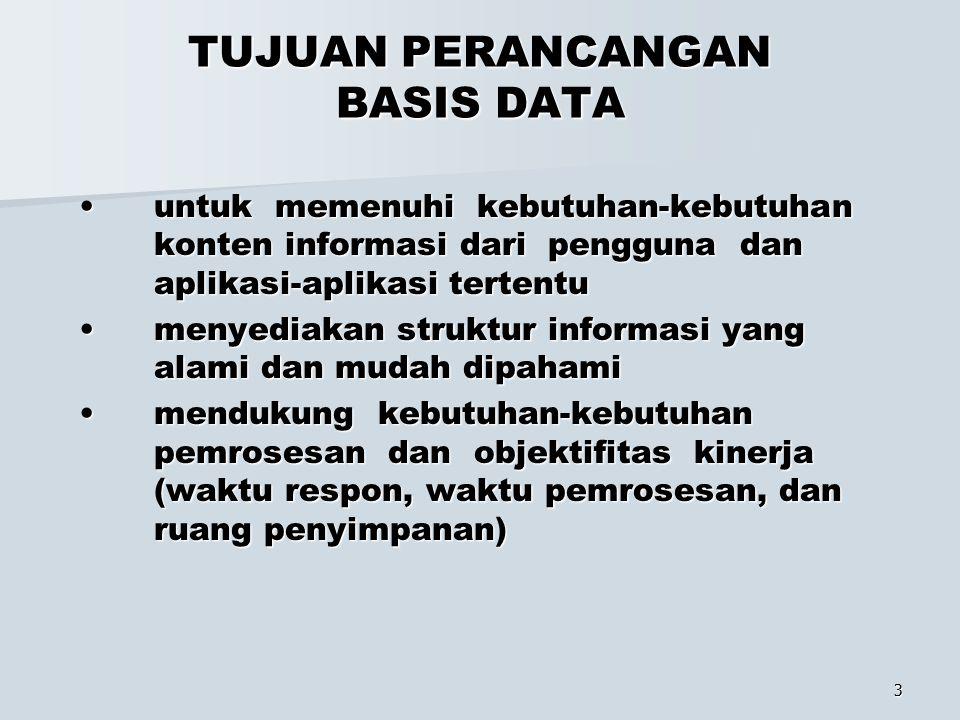 3 TUJUAN PERANCANGAN BASIS DATA untuk memenuhi kebutuhan-kebutuhan konten informasi dari pengguna dan aplikasi-aplikasi tertentu untuk memenuhi kebutu